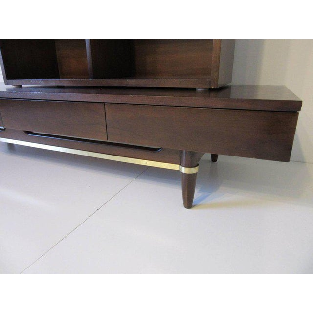 American of Martinsville American of Martinsville Ebony and Brass Platform Bookcase For Sale - Image 4 of 7