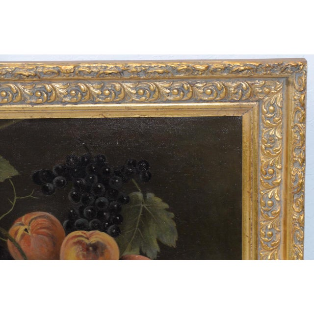 """19th Century """"Fruit Table"""" Still Life Oil Painting For Sale - Image 4 of 9"""