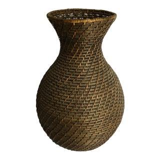 Vintage Wicker Basket Vase For Sale