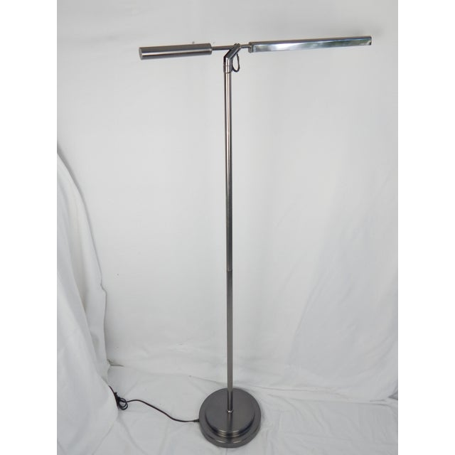 Brushed Chrome Fluorescent Floor Lamp For Sale - Image 11 of 11