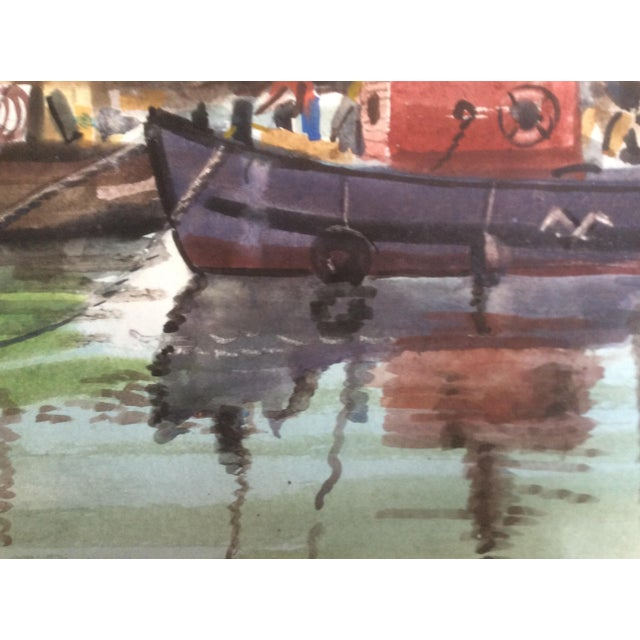 Fishing Boats Watercolor For Sale - Image 4 of 11
