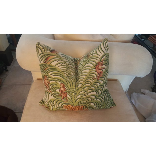 1970s Boho Chic Tropical Jungle Print Brushed Canvas Pillow Covers - Set of 3 For Sale - Image 10 of 12
