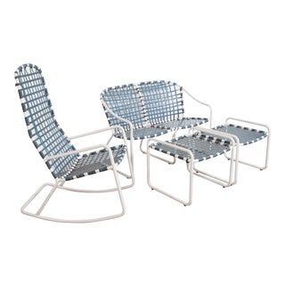 Brown Jordan Aluminum Patio Rocking Chair Settee & Pair of Ottomans - a Set of 4 For Sale
