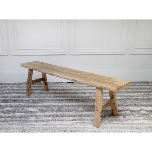 Outstanding Vintage Chinese Natural Elm Wood Bench Gmtry Best Dining Table And Chair Ideas Images Gmtryco