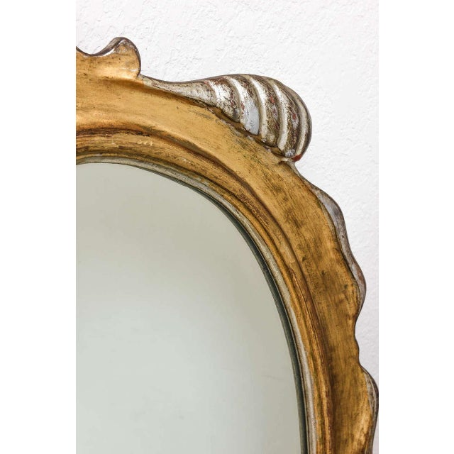 Hollywood Regency Style Gold and Silver Gilt-Wood Mirror For Sale In West Palm - Image 6 of 10