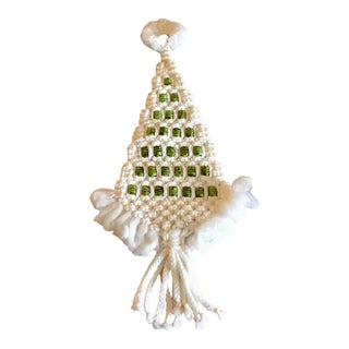 1970s Vintage Macrame Christmas Tree Wall Hanging For Sale