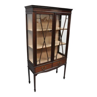 Antique Edwardian Mahogany Inlaid Two Door China Cabinet Curio Bookcase Display For Sale