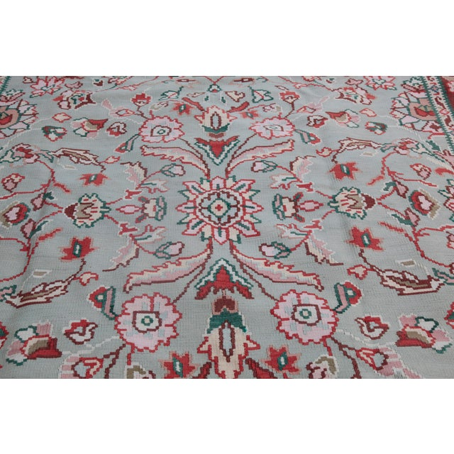 1950s Vintage Floral Wool & Cotton Kilim - 6′8″ × 9′4″ For Sale - Image 9 of 13