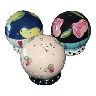 1980s Vintage January Jorgenson Ceramic Globes - Set of 3 For Sale