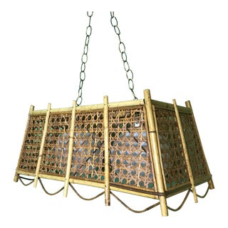Vintage Wicker & Rattan Rectangular Scalloped Chandelier For Sale
