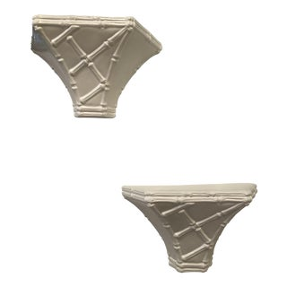 Vintage Chinoiserie Whites Lacquered Plaster Faux Bamboo Wall Shelf Sconces -A Pair For Sale