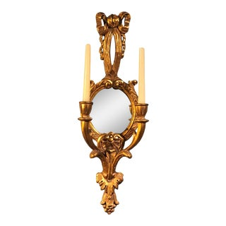 1910s Early 20th Century Italian Rococo Style Wall Sconce With Mirror For Sale