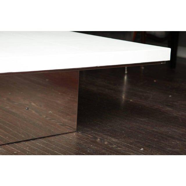 Custom White Leather Cocktail Table For Sale In New York - Image 6 of 7