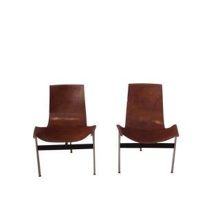Laverne Originals Leather T-Chairs - A Pair For Sale
