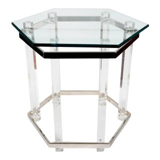 Vintage 1970s Hollywood Regency Acrylic Lucite Glass and Brass End Table For Sale