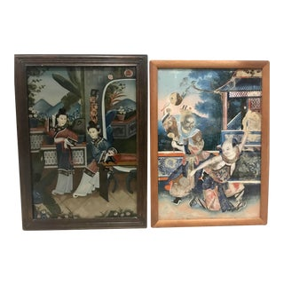 Late 19th Chinese Reverse Class Paintings - A Pair For Sale