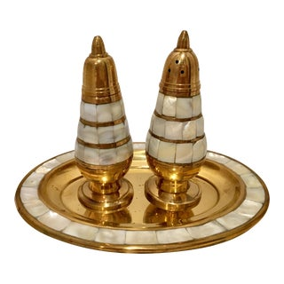 Mid 20th Century Vintage Brass and Mother of Pearl Salt and Perpper Shakers With Tray - Set of 3 For Sale