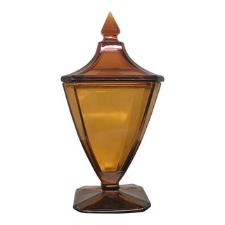 1950s Mid-Century Amber Glass Compote With Lid For Sale