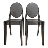 Image of Philippe Starck Smoke Louis Ghost Chairs -Set of 2 For Sale