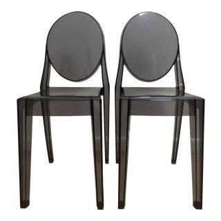 Philippe Starck Smoke Louis Ghost Chairs -Set of 2
