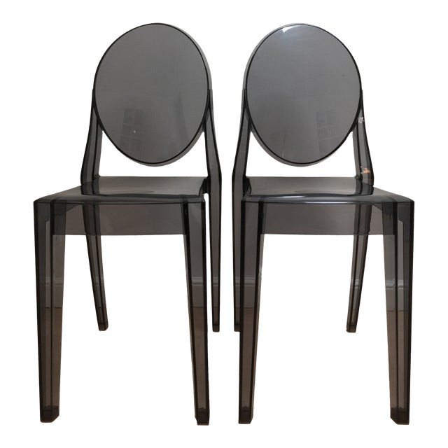 Philippe Starck Smoke Louis Ghost Chairs -Set of 2 For Sale