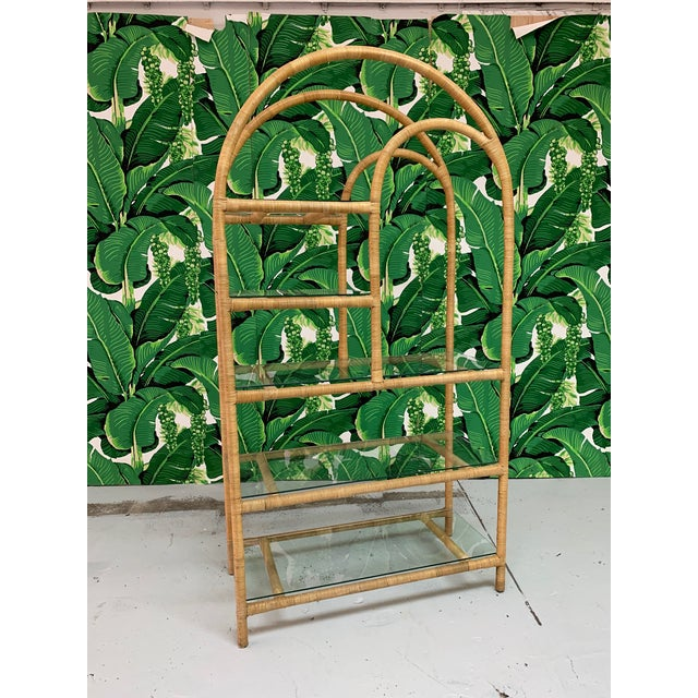 Boho Chic Rattan Wrapped Etagere For Sale - Image 3 of 9
