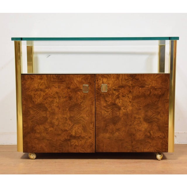 Brown Burl Wood and Brass Sideboard by Century Furniture Company For Sale - Image 8 of 8