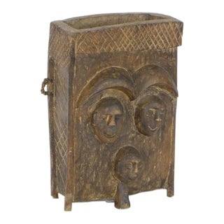 Rustic Carved Wooden Box For Sale