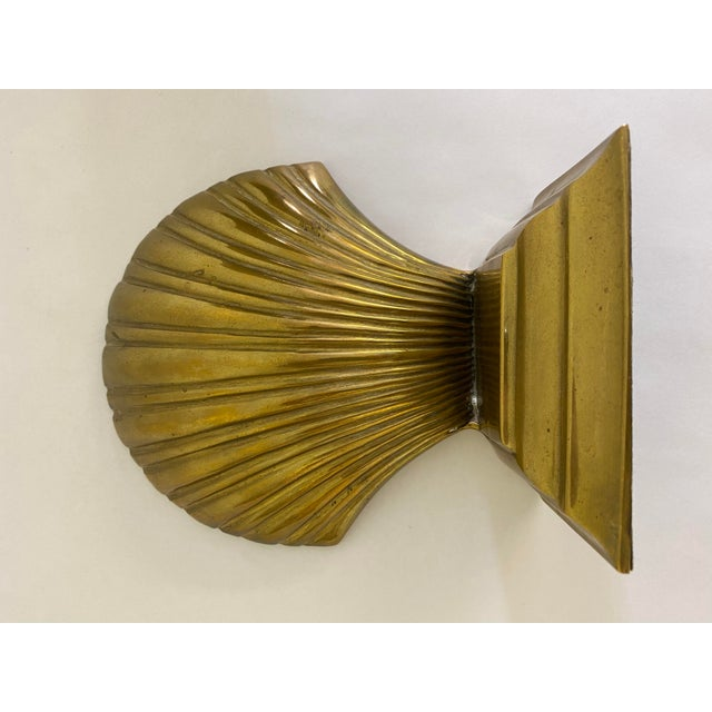 Coastal Brass Finished Scallop Shell Bookends- a Pair For Sale - Image 3 of 7