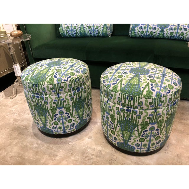 Hollywood Regency Highland House Grant Swivel Ottomans - Pair For Sale - Image 3 of 8