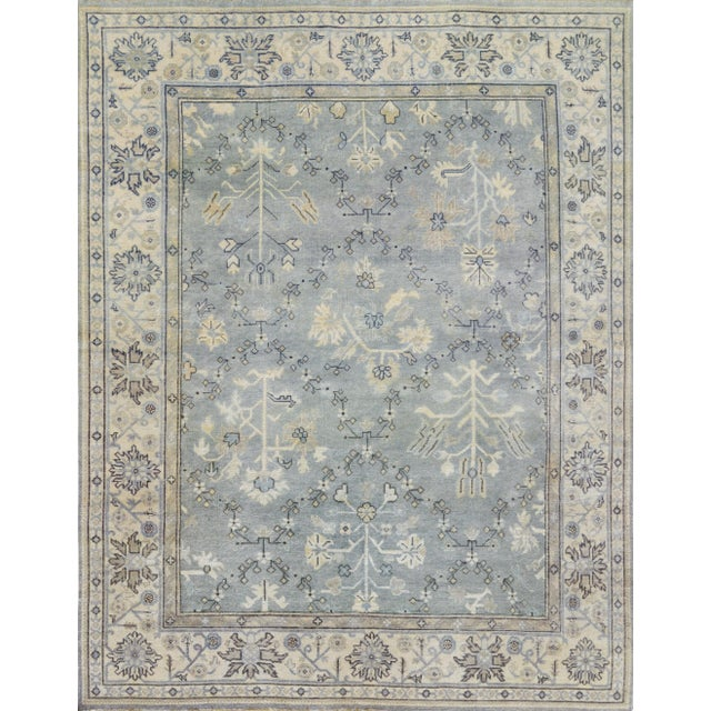 Islamic Persian Hand Woven Gray Wool Oushak Rug - 8' X 10' For Sale - Image 3 of 3