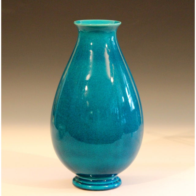 Vintage Robertson Hollywood pottery vase in sensuous and organic form with brilliant turquoise crackle glaze, circa early...