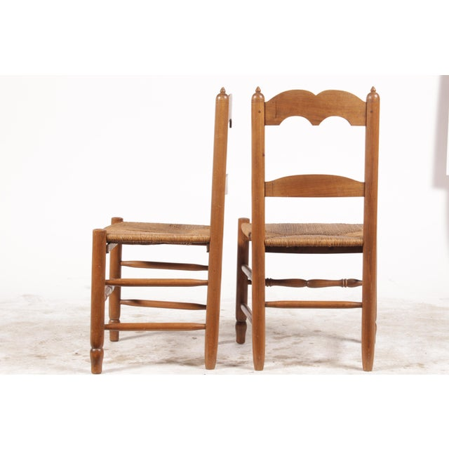 French Country Petite French Rush Chairs - A Pair For Sale - Image 3 of 10