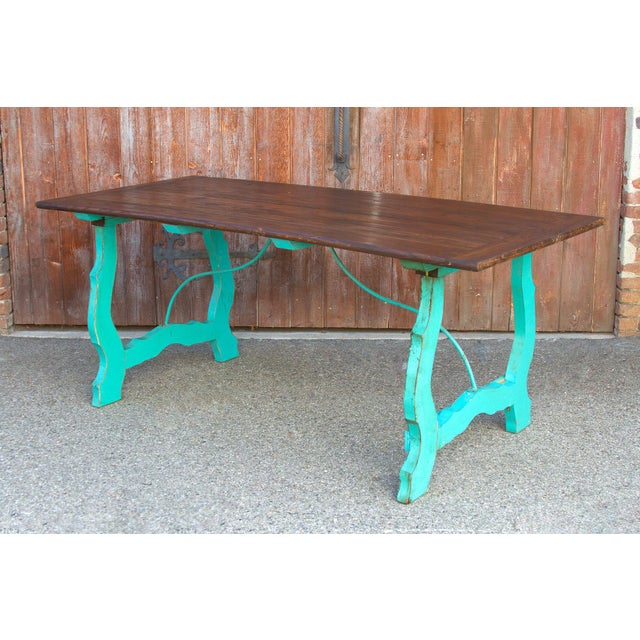 Vibrant Spanish Colonial Dining Table For Sale In Los Angeles - Image 6 of 8