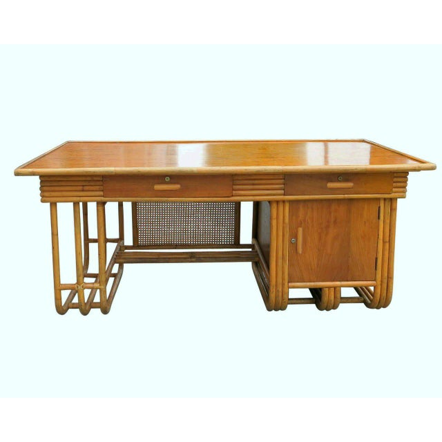 Restored Large Jean Royère Style Streamline Rattan Executive Desk - Image 2 of 8