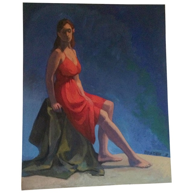 Painting of a Woman in a Red Dress - Image 1 of 4