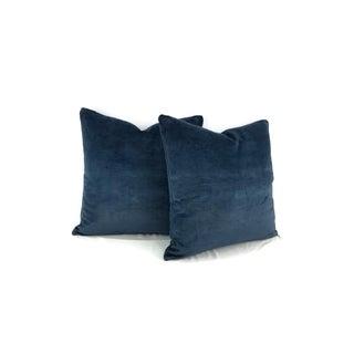 """Schumacher Antique Navy Linen Velvet Pillow Cover - 20"""" X 20"""" Preview"""