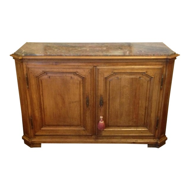 Vintage Walnut Buffet With Marble Top - Image 1 of 6