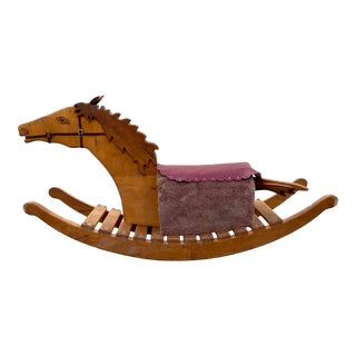 1950s Life Size Adult Wood Rocking Horse Chair For Sale