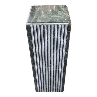 Late 20th Century Green Veined Marble Pedestal For Sale