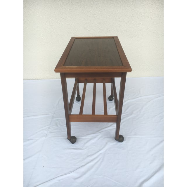 Small Mid-Century Modern Wooden Rolling Tray Table Cart For Sale - Image 4 of 12