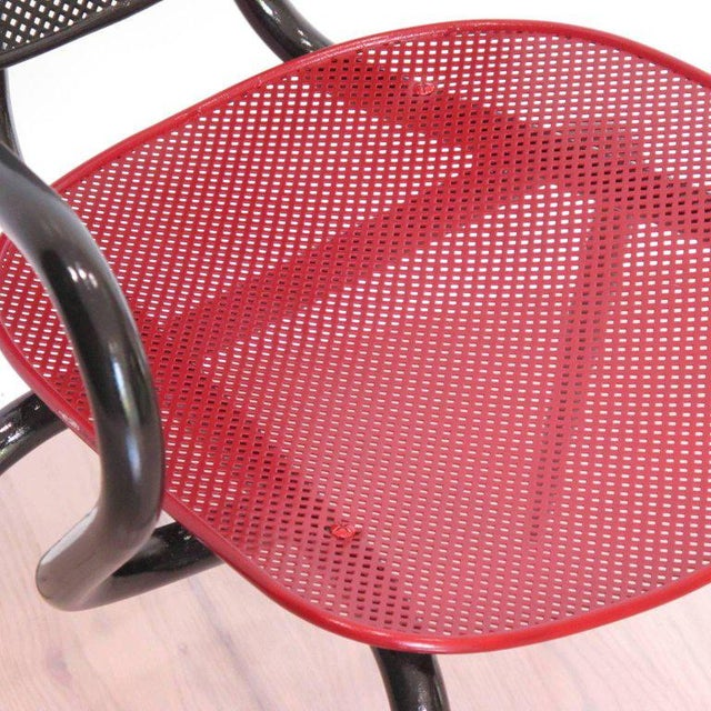 Manner of Mathieu Mategot Black and Red Perforated Metal Armchairs For Sale - Image 9 of 11