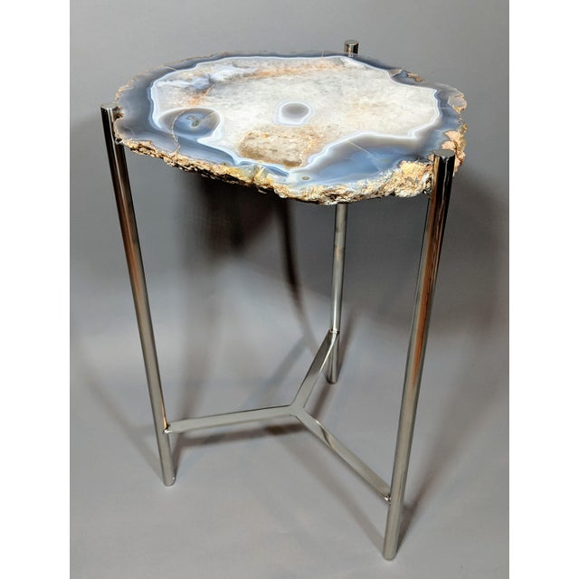 Jonathan Adler Organic Modern Natural Agate Slice Accent Table For Sale - Image 4 of 12