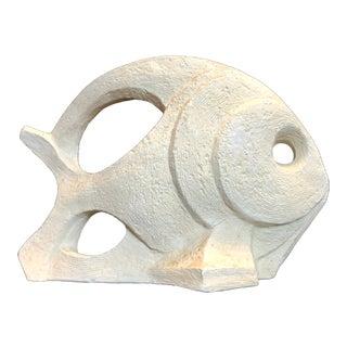 Mid-Century Cubist Fish Plaster Sculpture For Sale