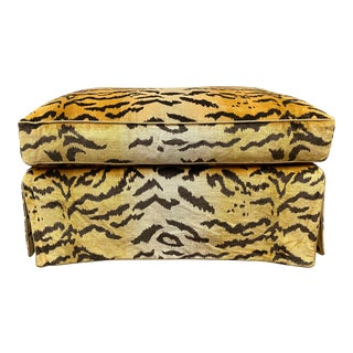 Custom Design Lee Jofa Tiger Oro Silk Ottoman For Sale