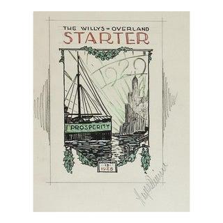 1929 Original Illustration Willys Overland Magazine For Sale