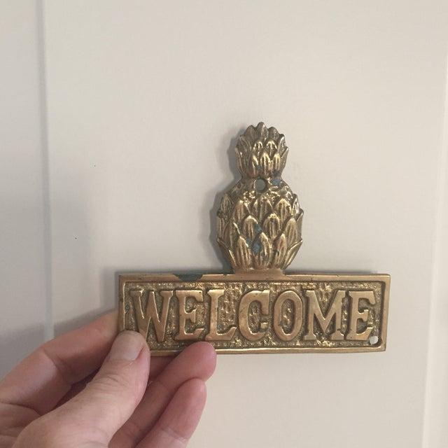 Brass Vintage Hollywood Regency Brass Pineapple Placquard Welcome Sign For Sale - Image 7 of 9