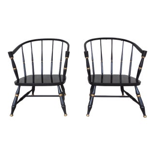 Rousseau Bros. Barrel Back Spindle Black Painted Club Chairs-A Pair