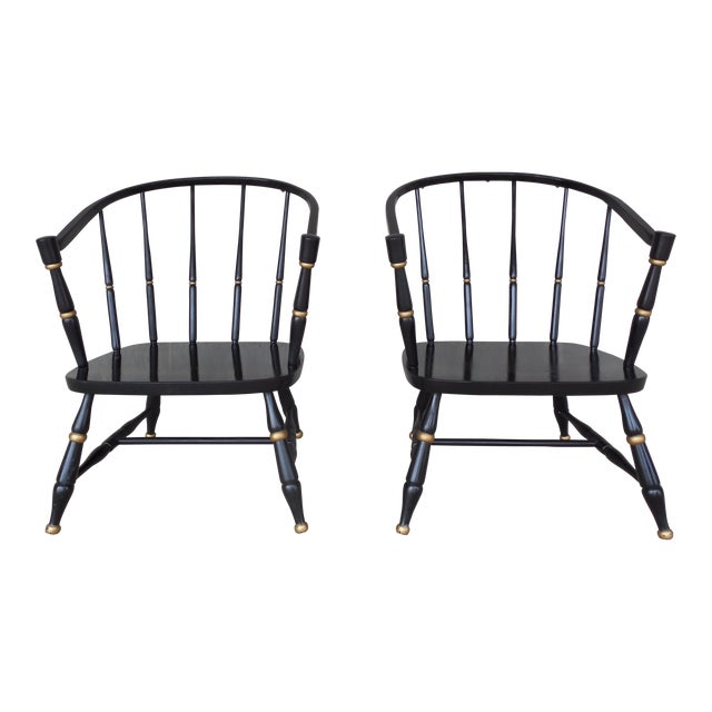 Rousseau Bros. Barrel Back Spindle Black Painted Club Chairs-A Pair For Sale