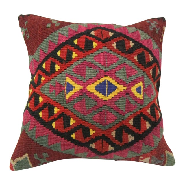 Vintage Handwoven Embroidered Turkish Kilim Pillow Cover For Sale